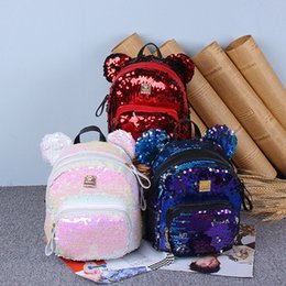 2019 grandes bolsas de hombro para la escuela Chicas de moda mochila de dibujos animados Mickey orejas grandes lentejuelas bolso de hombros adolescente niños mochilas escolares niñas ocio bolsas de viaje regalos de navidad rebajas grandes bolsas de hombro para la escuela