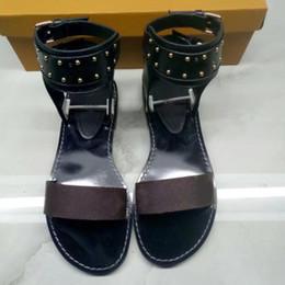 Wholesale Open Back Thong - summer fashion women shoes Skull rivets flat sandals Hollow T-thong Roman sandals