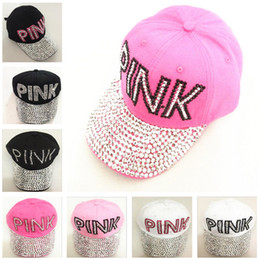 b48652d55d3 Women Love Pink Letter Hats Drill Diamond Point Cowboy Diamond Baseball  Caps Casual Hip Hop Sun Hats for Boys Girls mascot Hot