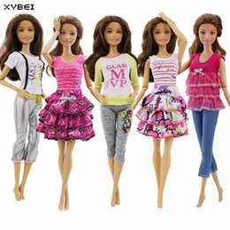 Wholesale Styling Doll - 5 Sets Lot Fashion Outfit Mixed Style Party Mini Skirt Trousers Daily Casual Wear Clothes For Barbie Doll Accessories Toys Gifts
