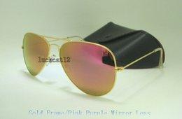 lila spiegel sonnenbrille Rabatt Hohe Qualität Mens Womens Bunte Sonnenbrille Pilot Sonnenbrille Gold Frame Flash Pink Lila Spiegelglas Linsen 58 MM 62 MM Mit Schwarzem Fall