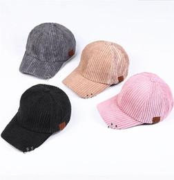 Wholesale Wholesale Corduroy Hats - 2018 New CC Baseball Caps Men And Women Corduroy Iron Ring Ball Caps Fashion Sports Sunshade Hats Lovers Cap With CC Logo