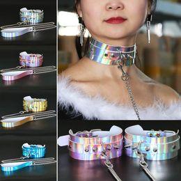 Wholesale Harness For Women - PU Leather Long Harness Choker Necklace Gift for Women 2018 BDSM Choker Rivets Metal Laser Collar Chocker Fashion Jewelry 162616