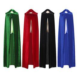 2019 trajes de bruxa de halloween adulto Bruxa Adulto Longo Roxo Verde Vermelho Preto Azul Dia Das Bruxas Casaco Capuz e Cape manto do Dia Das Bruxas cosplay Trajes desconto trajes de bruxa de halloween adulto