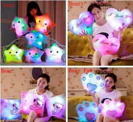 Wholesale Kids Heart Pillow - Luminous Glowing Pillow Star Heart Bear Paw Led Light Plush Pillow Night Light Kids Cushion Christmas Toys