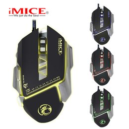 Wholesale Custom Laptops - Wired Gaming Mouse Macro Custom 7 Buttons 3200DPI Optical Mouse Gamer Colorful Backlight Breath Mice For PC Laptop V9