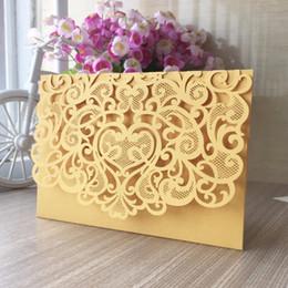 Tarjetas de visita amarillas online-100 unids amarillo elegante encaje romántico 2017 nuevo diseño Invitación a la cena de negocios Invitación a la cena de negocios Tarjeta RSVP Tarjeta de felicitación
