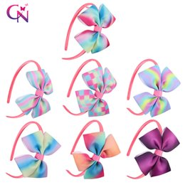 Wholesale Colorful Hair Ombre - Baby Hair Band Ombre Rainbow Headband Boutique Hair Accessories Hairbands Princess Colorful Big Bows For Kid