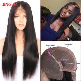 Wholesale indian hair smooth - Jingleshair 9A Grade Brazilian Unprocessed Virgin Remy Human Hair Wigs Lace Front Wigs smooth Straight wholesale cheap
