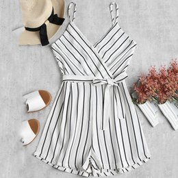 abfc6cd604fb Rompers Womens Jumpsuit Bodysuit Striped Strappy Sleeveless Beach Women  Jumpsuits For Women 2019 Playa Mujer