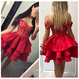 Wholesale Short Modest Homecoming Dress - Modest Red Lace Short Homecoming Dresses 2018 Off Shoulder Mini Graduation Dress Tiered Skirt Cocktail Party Gowns