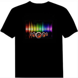 Wholesale Top Dj Lights - Hot Sale Sound Activated Led Cotton T Shirt Hip Hop Street Light Up and Down Flashing Equalizer EL T Shirt Men Rock Disco Party DJ Top Tee
