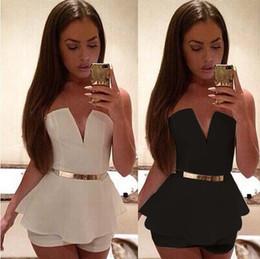 Les femmes profond col V profond bretelles Shorts Blanc Noir élégant Bodysuit Casual Barboteuses Femmes feuille de lotus Jumpsuit ? partir de fabricateur