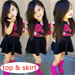 1c6f3cd434cc INS Summer Baby Girls 2pc Set Cotton floral shirt T shirt Tops + skirt  Pants 2pcs Infant girls Outfits girls Clothing Sets 0-6years