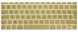 """2019 tabletas de piel clara Funda con teclado de silicona AZERTY French UK para MacBook New Pro 13 """"A1708 (versión 2016, sin barra táctil) para 12"""" A1534 Retina"""
