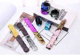 Fille Slap Bracelets Sirène Sequin Bracelet Double Couleurs Glitter Slap Bracelet Enfants Fête Favorise 21 Modèles En Option ? partir de fabricateur