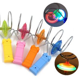 Fantasía ligera online-Intermitente LED Fidget Spinner Top Magnetic Gyro Rueda Track Toy Magic Fantasy Luz láser Gyro Bauble Juegos coloridos de la novedad CCA10411 50pcs