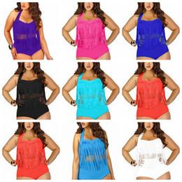 Wholesale Plus Size Black Women - 9 Colors Women High Waist Fringe Tassels Plus Size Bikini Sexy Solid Swimwear Summer Beachwear Set Bra Swimsuit Bathing Suits AAA360