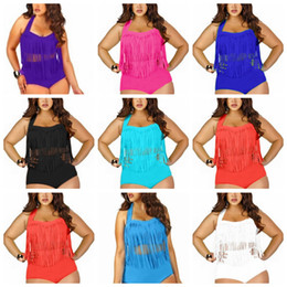 Wholesale Tassel Black Bikinis - 9 Colors Women High Waist Fringe Tassels Plus Size Bikini Sexy Solid Swimwear Summer Beachwear Set Bra Swimsuit Bathing Suits AAA360