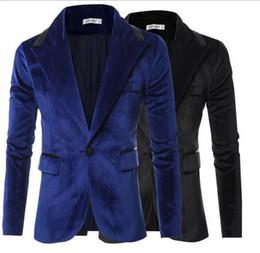 botón de chaquetas de cuero para hombre Rebajas Traje de gamuza para hombre Traje casual Cuello de cuero Hombres Un botón Chaqueta de solapa delgada D35
