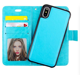 Wholesale Galaxy Note Detachable Case - For iPhone X 8 7 6 plus 2in1 Magnetic Magnet Detachable Removable Wallet Leather Retro Case for Samsung Galaxy note 8 s8 plus