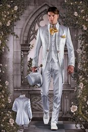 Wholesale Terno Custom Made - Tailor Made Italian Embroidery Silver Men Suits Slim Fit Groom Prom Tuxedo 3 Piece Blazer Dress Clothes Jacket+Pants+Vest Terno