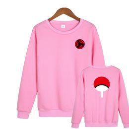 Розовые толстовки с капюшоном онлайн-2018 Latest NARUTO Design Unisex Hoodies Men & Women Ninja Capless Sweatshirt O-Neck 2XL Plus Size Pink Hoodie  Clothing