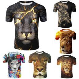 3d animale stampato animale online-Maglietta da uomo T-shirt manica corta stampa 3D estate 2019 maglietta Casual Tops O Collo Cotone Animal Masculine Leone Cartone animato