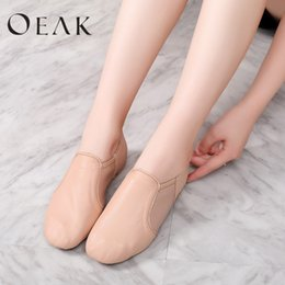 women jazz shoes Coupons - Oeak Women Leather Twin Gores Stretch Jazz Dance Shoes Slip-On Excercise Shoe Women Training Shoes Soft Nude Sneakers All Size