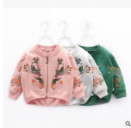 Wholesale Girls Baseball Jackets - Kids jacket spring girls flowers embroidery outwear 2018 new children long sleeve baseball uniform girl round collar zipper coat R1946
