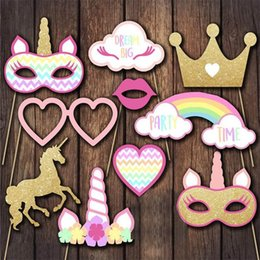 Wholesale Diy Party Face Props - DIY Rainbow Unicorn Party Photo Prop Tool Birthday Party Wedding Decoration Cosplay Accessories XMAS Gifts WX9-425
