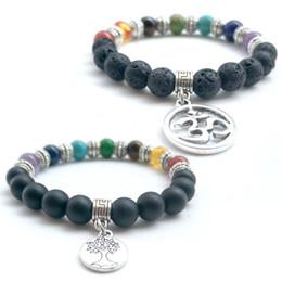 Wholesale Seven Bangles - Seven Chakras Lava Rock Beaded Bracelets Fashion Natural Black Agate Stone Charm Jewelry Tree Of Life OM Pendant Punk Cuffs Bangles Bracelet