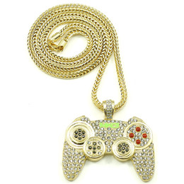 Wholesale Mens Charm Necklaces - 2018 Hip Hop Game Machine Handle Pendant Necklace Mens Full Crystal Heavy Necklace Fashion Iced Out Game controller Necklace