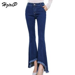 Wholesale Jeans Loose Legs For Women - HziriP Jeans For Women New High Waist High Elastic Horn Cowboy Casual Wide Leg Pants Plus Femme Washed Trousers Fashion Feminino