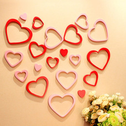Wholesale Wooden Heart Shapes Wholesale - 5pcs 1set 3D Wooden Heart Love Shape Wall Stickers For Valentine Day Home Decoration Beautiful Paster New 3 6yj Z