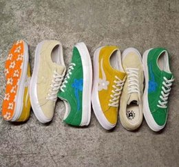 Wholesale golf shoes brown leather - 2018 Outdoor Shoes TTC Creator x One Star Golf Ox Le Fleur vanilla mint green Running Shoes Suede Green Yellow Beige Canvas shoes With box