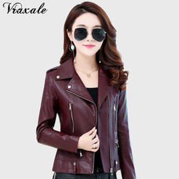 Wholesale Ladies Leather Suits - Vraxale 2017 Autumn Winter New Suit Collar Ladies Leather Jacket Slim Short Section Motorcycle Leather Jacket Female
