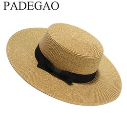 Wholesale Straw Sombreros - Women Summer Flat Sun Hat 2017 New Gold Straw Hat With Bow Wide Brim Beach Caps Sombreros Mujer Verano