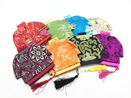 Wholesale Satin Bags For Jewelry - 10pcs Unique Ethnic Small Zipper Pouch Tassel Coin Purse Wedding Party Favor Chinese Style Silk Satin Cloth Pouches Jewelry Bag For Gift