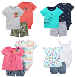 Wholesale Infant Clothes For Boys - New Baby Three-piece Suit 24 Designs T-shirt Romper Shorts Boy Girl Clothing Sets for Summer Cotton Newborn Infant Baby Clothing Suits