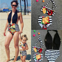 Wholesale Flower Families - Family Matching Outfits Floral Mother and daughter swimwear outfits 2018 Mother and daughter Swimsuit Striped flowers Bikinis 2pcs set C3498