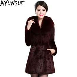Wholesale Thick Mink Faux Fur Jackets - AYUNSUE 2017 Plus Size 5XL Winter Women faux fur Coat 2017 Patchwork High imitation mink Thick Artificial Fur Jacket LX925