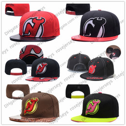 Wholesale devil hats - New Jersey Devils Ice Hockey Knit Beanies Embroidery Adjustable Hat Embroidered Snapback Caps Black Red Brown Stitched Hats One Size