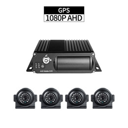 vehicle security alarms Coupons - 4CH AHD GPS Truck Mobile DVR with 4pcs 2.0MP Side Cameras 1080P Cycle Recording I O Alarm Delayed Shutdown for Vehicle Security