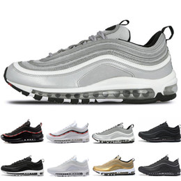 Wholesale gold for cheap - Cheap Hot New 97 OG QS Tripel White Black Metallic Gold Silver Bullet PRM WHITE 3M Premium mens Running Shoes for Men Women Free shipping