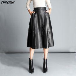 2019 estilo saia de couro Estilo de Inglaterra do couro grande das senhoras do balanço da saia do couro das mulheres da saia de SWREDMI estilo saia de couro barato