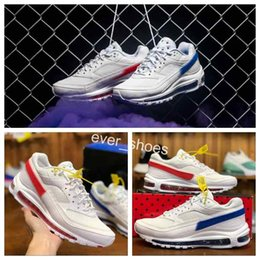 Wholesale london blue - 2018 New Brand 97 BW x Skepta London Bronze White Red Blue two-tone sports Running Shoes 97s Mens AO2113-100 Trainers Designer Sneakers