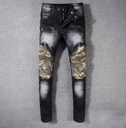Wholesale Military Biker Patches - Men's Distressed Camouflage Patches Biker Jeans Military Slim Black Sretch Denim Skinny Pants Size 29-42 #996