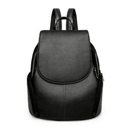 Wholesale Interiors Designs - 2018 Fashion Genuine Leather Black Red Design Girl Women Backpacks School Bags Handbags High Quality Free Shipping