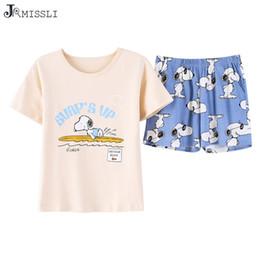 Argentina JRMISSLI Pijamas Mujer Perro Lindo Crop Top + Shorts 2 Unidades Conjunto Pijamas de algodón Pijamas sueltos de cintura elástica BS2034 Suministro